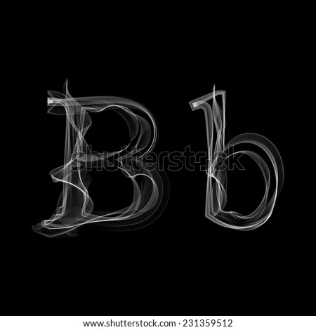 Smoke font. Letter B. Vector illustration alphabet - stock vector
