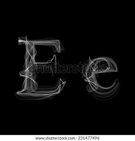Smoke font. Letter E. Vector illustration alphabet - stock vector