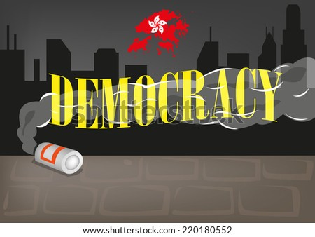 Smoke from a Can of Tear Gas covers the word Democracy. Hong Kong protest concept. - stock vector