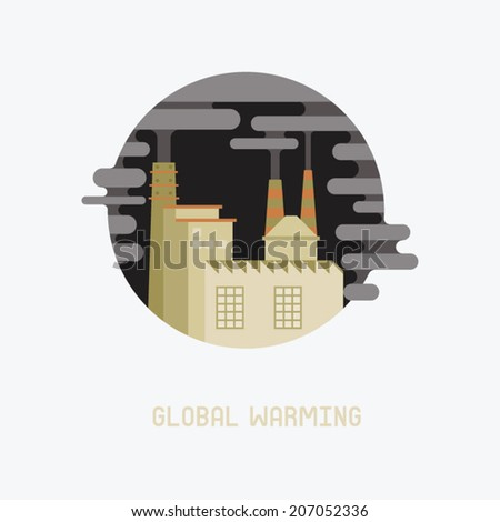 smoke from factory of global warming - stock vector