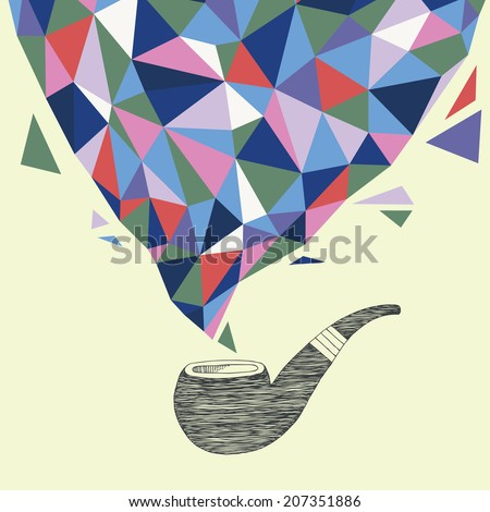 Smoke from Tobacco Pipe - stock vector