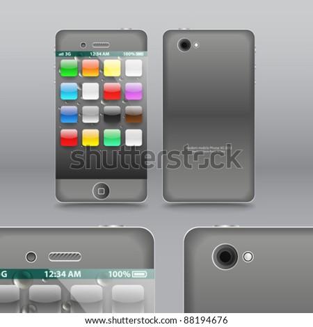 Smoke grey modern touchphone gadget vector illustration - stock vector