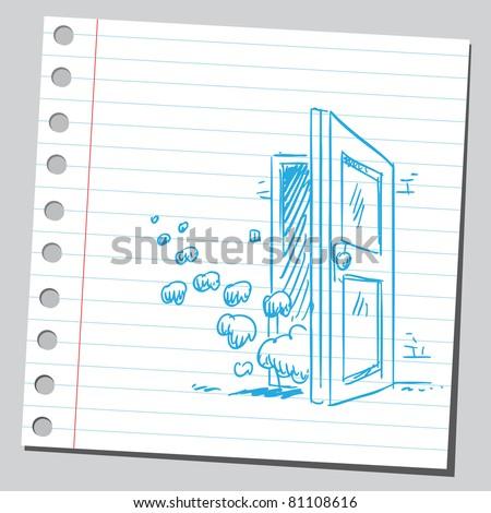 Smoke through the door - stock vector