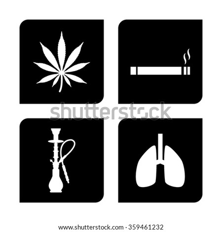 smoke  vector icon; set - stock vector