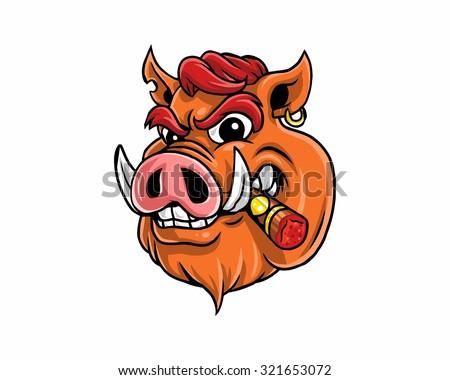 smoker hog - stock vector