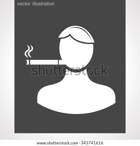 smoker with a cigarette - stock vector