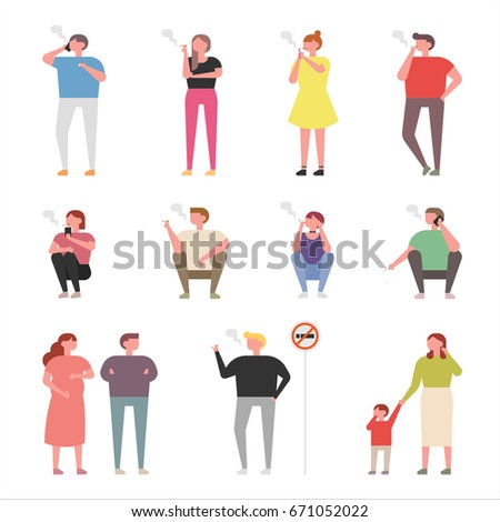 Smokers and indirect victims vector illustration flat design