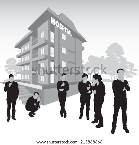 Smokers outside the hospital building. Vector illustration