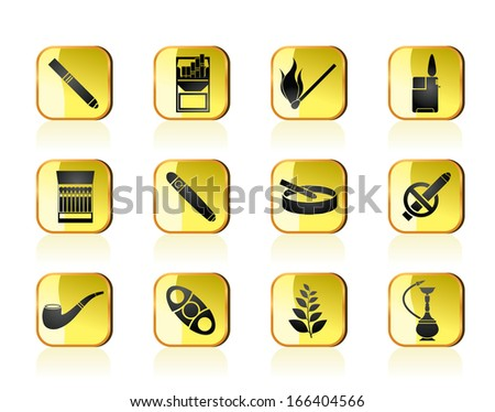 Smoking and cigarette icons - vector icon set - stock vector