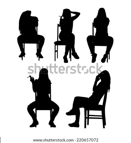 Smoking and sitting woman silhouette collection set. Vector illustration. - stock vector