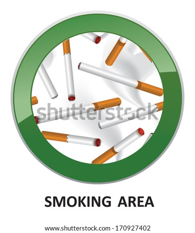 Smoking area label. Smoking Area Vector Sign. - stock vector