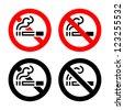 Smoking area set symbols, not allowed sign - stock vector