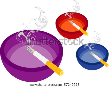 "Smoking Cigarette and Ashtray - Lit cigarette in ashtray isolated on white (purple red blue). Vector illustration. Suitable for internet, advertising, editorial graphics. See others on ""Objects"" set. - stock vector"