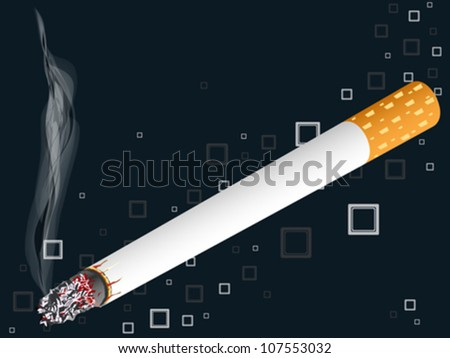 smoking cigarette over squared background, abstract vector art illustration; image contains transparency - stock vector