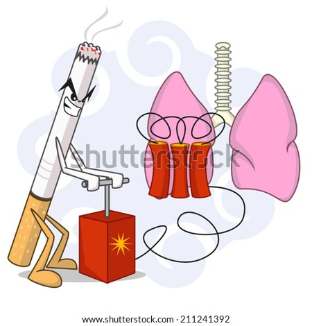Smoking damage, vector illustration. - stock vector