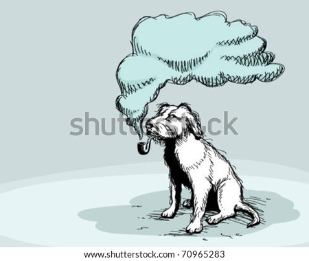 smoking dog. - stock vector