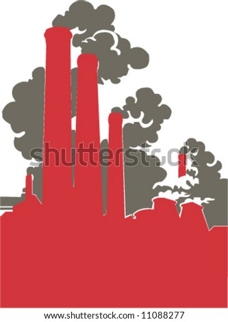 Smoking factory that deals a lot of damage to our environment - stock vector