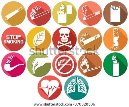 smoking flat icons set  - stock vector