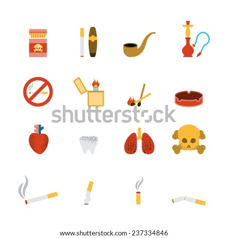 Smoking icon flat set with lighter tobacco pipe cigarette isolated vector illustration - stock vector