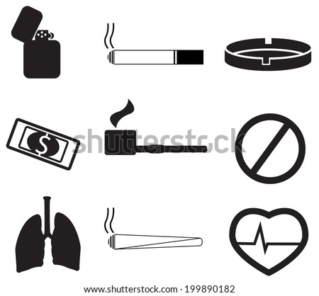 Smoking icons - stock vector