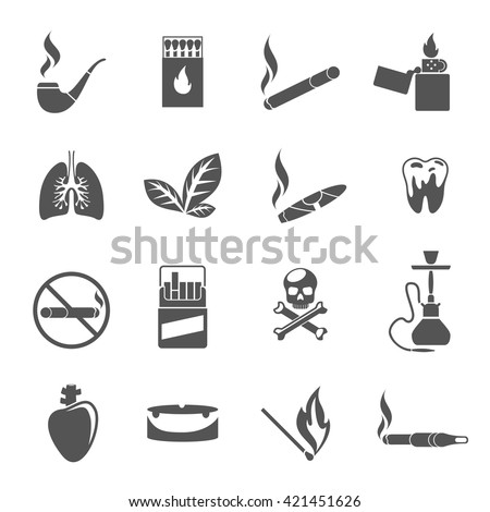 Smoking icons and tobacco icons vector. Cigarette tobacco, addiction smoking, cigar tobacco illustration - stock vector