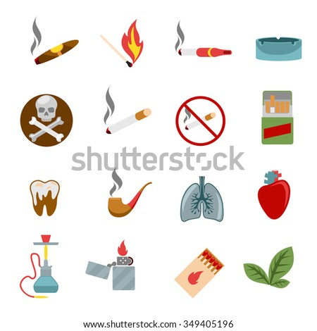 Smoking icons in flat style. Cigarette and tobacco, cigar and cross bones skull, heart and lungs, vector illustration - stock vector