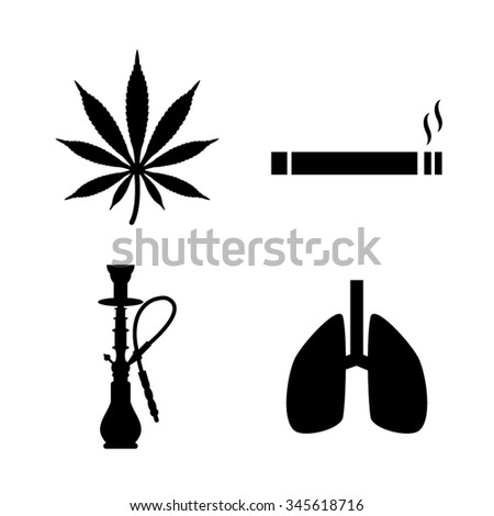Smoking icons, set - stock vector