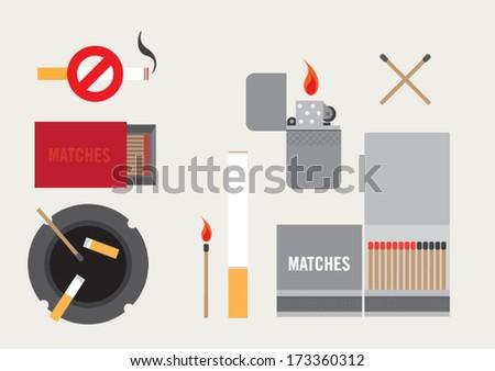Smoking items - stock vector