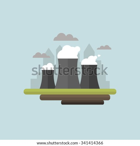 Smoking plant. Bad ecology. Environmental protection. Modern city. - stock vector