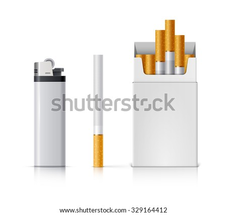Smoking set. Pocket lighter, cigarette and pack of cigarettes