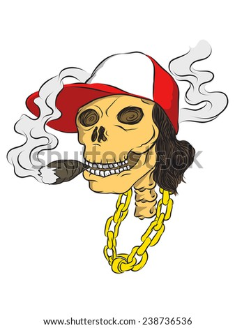 Smoking skull with red and white hat - stock vector