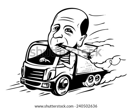 Smoking truck driver - stock vector