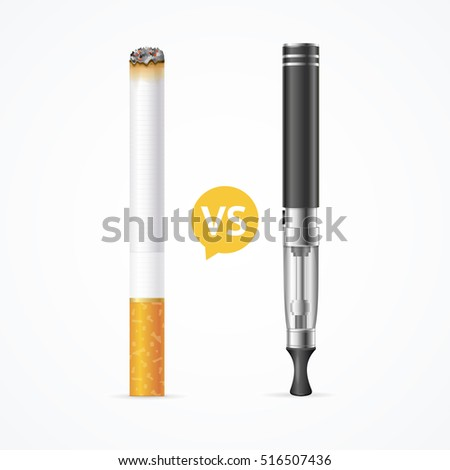 Smoking vs Vaping. Electronic Cigarette or Vaporizer Device and Tobacco Cigar. Addiction is Dangerous Vector illustration of smoke concept on white, fire