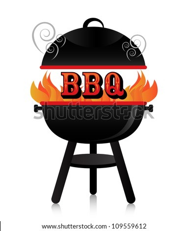 Smoky fiery BBQ grill. - stock vector