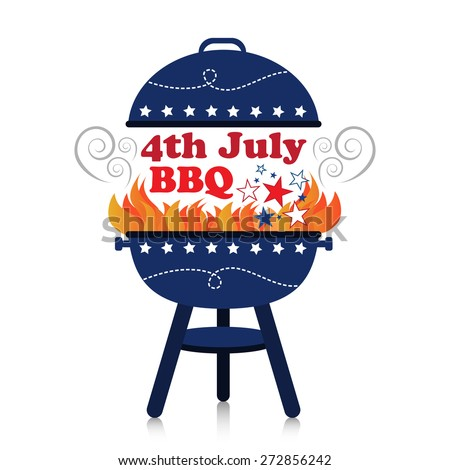 Smoky fiery BBQ grill with 4th July American Independence Day design. - stock vector