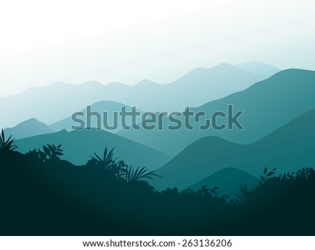 Smoky mountains with forest silhouette at the front. - stock vector