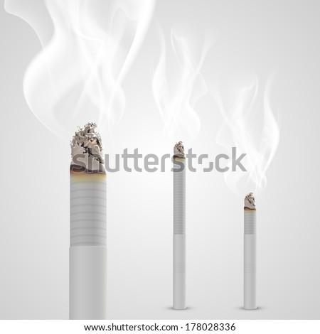 Smoldering cigarette with a smoke. Vector - stock vector
