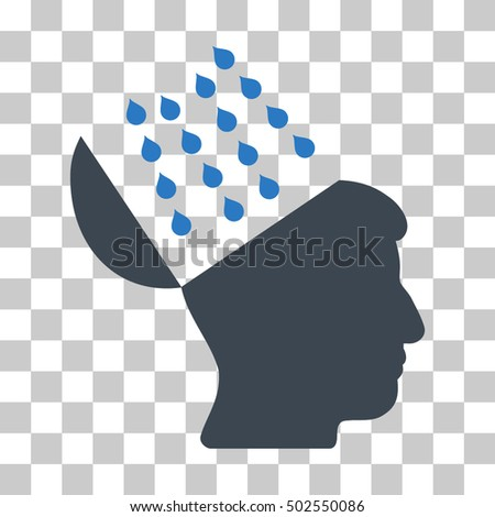 Smooth Blue Brain Shower interface toolbar icon. Vector pictograph style is a flat bicolor symbol on chess transparent background.