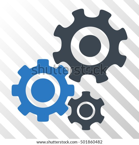 Smooth Blue Gear Mechanism interface icon. Vector pictograph style is a flat bicolor symbol on diagonal hatch transparent background.