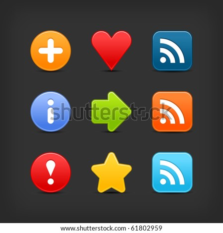 Smooth color set web 2.0 internet button with shadow on black background - stock vector