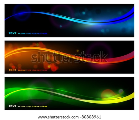 Smooth Color Waves Banner - stock vector