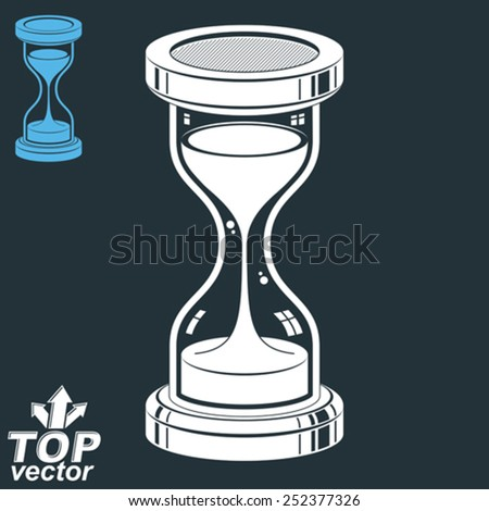 Smooth detailed vector sand-glass. Old-fashioned classic 3d hourglass with pour sand isolated on dark background. Time without end conceptual icon, includes invert version. Web design element. - stock vector