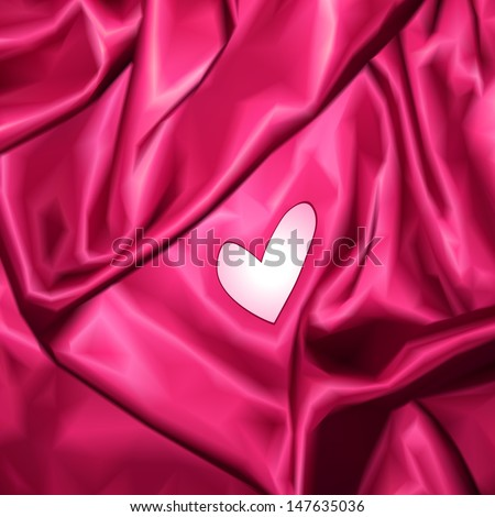 Smooth elegant pink silk with heart. Vector - stock vector