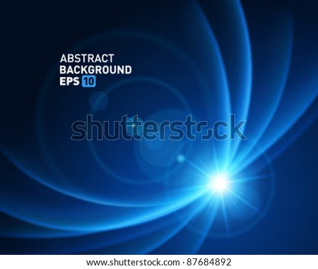 Smooth light lines with lens effect vector background. Eps 10. - stock vector