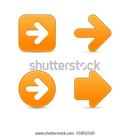 Smooth orange arrow symbol web 2.0 buttons with shadow on white background