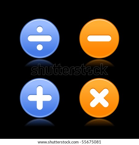Smooth round web 2.0 buttons with math symbols. Colorful shapes with reflection on black background - stock vector