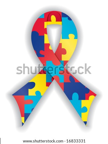 Smooth, satin awareness ribbon in brightly colored puzzle pattern - stock vector