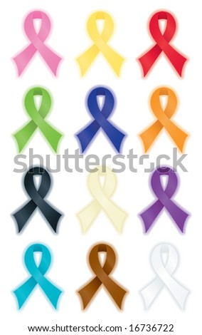 Smooth, satin awareness ribbons, each radiating a soft, colorful glow.