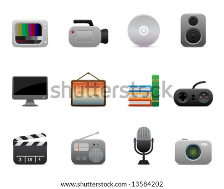 smooth series > multimedia icons - stock vector