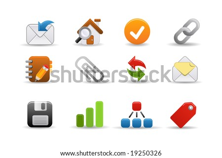 Smooth series part 3: a collection of colorful web icons for your web page! - stock vector